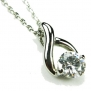 CZ-Twist Necklace, Silvertone, Diamond-Colored CZ, 18