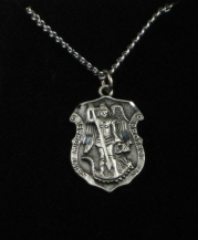 Brand New Religious Saint Michael Patron of Police Officers Shield Pendant Necklace