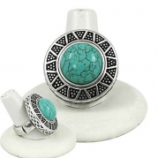 Burnished Silvertone Imitation Turquoise Stretch Fashion Ring