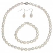 Genuine Freshwater White Pearl Necklace Bracelet & Earring Set