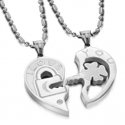 Valentine Couple's Love You Lock and Key Pendant Necklaces Titanium Stainless Steel (One Pair)