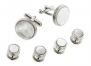 JJ Weston silver plated set of cufflinks and shirt studs set with mother of pearl with presentation box. Made in the U.S.A