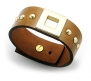 Genuine Brown Leather Bracelet with Designer Details: Gold Square and Studded Accents, Fits 7 to 8 Inch Wrists