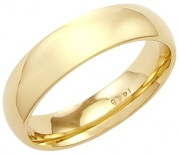 14k Solid Yellow Gold Plain Comfort Wedding Ring Band 5MM - Size 7 - 5.7 Grams