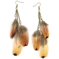 Multi Dangle Feather Earrings - Brass Hook & Chain - Natural