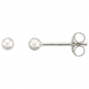 Sterling Silver 3 mm Ball Stud Earrings Small (1/8 inch)