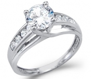 Size- 4.5 - Solid 14k White Gold Solitaire Round CZ Cubic Zirconia Engagement Ring 1.5ct