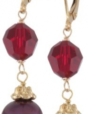 Red Potato Freshwater Pearl and Swarovski Elements Gold over Sterling Silver Leverbacks Drop Earrings