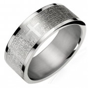 Stainless Steel English Lord's Prayer 8mm Band Ring - Men (Size 10)