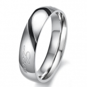 Lover's Heart Shape Titanium Stainless Steel Mens Ladies Promise Ring Real Love Couple Wedding Bands (Men's Ring, 4)