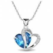Chaomingzhen Charm 925 Sterling Silver Diamond Accent Amethyst Blue Double Heart Shape Pendant Necklace for Women Fashion Jewerly for Girlfriend with 18 Chain