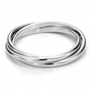 Sterling Silver Triple Interlocked Rolling High Polish Plain Dome Tarnish Resistant Wedding Band Ring, Nickel Free Sz 6.5