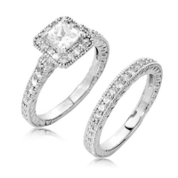 Sterling Silver Ring Set Princess Cut Cubic Zirconia CZ Ring Set 1.1 ct.tw - Nickel Free Engagement Wedding Ring Set (Available in Sizes 5 to 9) [Size 8]