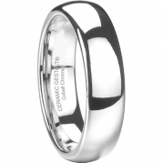 Platinum Finish Cobalt Ring by CERAMIC GESTALT®. 6mm width. Domed & Polished. Timeless wedding band design. Size 7 (avail. 5 to 14) - RCC6PD7
