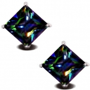 Rainbow Peacock Topaz Square Princess Cut CZ Basket Set Silver Men Unisex Stud Earrings (6mm 1ct.)
