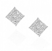 Square Invisible Cut CZ Basket Set Silver Men Unisex Stud Earrings (0.75ct. 5mm)