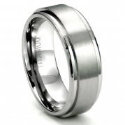 Men's Titanium 8MM Flat High Polish/Brush Finish Wedding Band Ring Sz 7.5