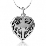 Chuvora Oxidized 925 Sterling Silver Open Filigree Christian Cross Heart Shaped Locket Necklace 18''