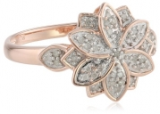 Rose Gold Plated Sterling Silver Flower Diamond Ring (1/6 Cttw, I-J Color, I2-I3 Clarity), Size 8