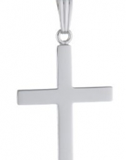 Sterling Silver Polished Cross Pendant Necklace, 20
