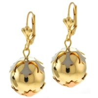 1 Inch Tri Tone Round Ball Gold Plated Dangle Earrings With Lever Back