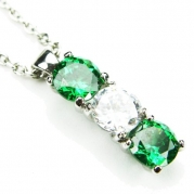CZ-Column Necklace, Emerald-Colored & Diamond-Colored CZs, 18