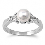 Rhodium Plated Ring with Synthetic Pearl and CZ - Size 9