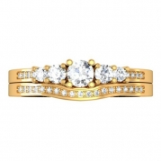 0.45 Carat (ctw) 14k Yellow Gold Round Diamond Ladies 5 Stone Bridal Engagement Ring Matching Band Set 1/2 CT (Size 6)
