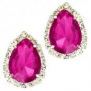 Designer Inspired Clip-on Earring / Fuschia Hot Pink Rhinestones / Silver Plated / Dimension: 3/4w X 1h