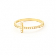 Yellow Gold over Sterling Silver Diamond Imitation Cubic Zirconia CZ Sideways Cross Ring size 8