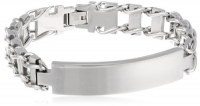 Men's 12mm Railroad Stainless Steel Identification Bracelet, 8.5