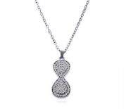 New Cz Infinity Necklace Pendant with 18 Inch Long Rolo Chain Included. Silver Plated