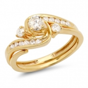 0.50 Carat (ctw) 10k Yellow Gold Round Diamond Ladies Swirl Bridal Engagement Ring Matching Band Set 1/2 CT (Size 5)