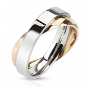 STR-0081 Stainless Steel Combination of Simple Band Ring with Rose Gold IP Faceted Ring (5)