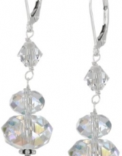Sterling Silver and Swarovski Crystal Aurora Borealis Drop Earrings