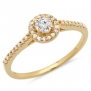 0.50 Carat (ctw) 14k Yellow Gold Brilliant Round Cut Diamond Ladies Engagement Bridal Halo Ring 1/2 CT (Size 5)