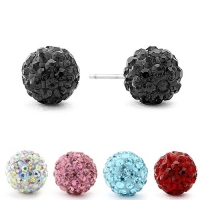 Authentic Diamond Color Crystal Ball Stud Earrings. Black 6mm.