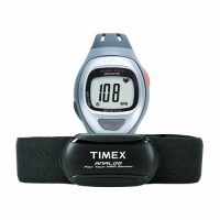 Timex Unisex T5K730 Easy Trainer Analog HRM Flex Tech Chest Strap & Mid-Size Gray/Silver-Tone/Orange Watch