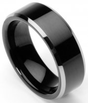 Men's Tungsten Ring/Wedding Band, Flat Top, Two Toned Black, Sizes 7 - 10 (rg2) (8)