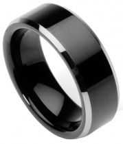 Men's Tungsten Ring/Wedding Band, Flat Top, Two Toned Black, Sizes 7 - 12 by Men's Collections (rg2) (8.5)