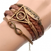 BOXINGCAT Fashion Lady Retro Infinity Wings Owl Strands Suede Rope Bracelet Gift