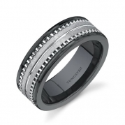 Flat Edge 7 mm Comfort Fit Mens Black Ceramic and Tungsten Combination Wedding Band Ring Size 9
