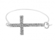 2 Pieces of Silver Iced Out Cross Bangle Bracelet