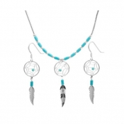 Dream Catcher Sterling Silver Imitation Turquoise Earrings Necklace Set 18
