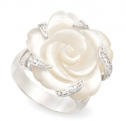 JanKuo Jewelry Silver Tone Semi-Precious Stone Carved Mother of Pearl Flower Cocktail Ring with Gift Box