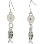 Heirloom Finds Ichthys Fish Cross Mustard Seed Dangle Silver Tone Earrings