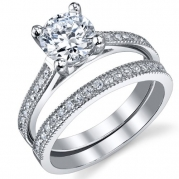 1.25 Carat Round Brilliant CZ Sterling Silver 925 Wedding Engagement Ring Band Set Size 9