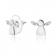 Bling Jewelry Petite Silver Plated Crystal Guardian Angel Stud Earrings