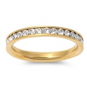 STR-0023 316L Gold IP Stainless Steel Eternity CZ Wedding Band Ring 3mm Sz 3-10; Comes With FREE Gift Box (9)