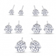 Round Clear Cubic Zirconia Stud Earring Set (5 Pairs)